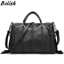 Buy Bolish Brand High PU Leather Women Handbag Fashion Rivet Crossbody Bag European Style Tassel Women Shoulder Bag for $16.50 in AliExpress store