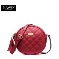 NAWO New Fahion Plaid Beach Bags Diamond Lattice Leather Crossbody Bag Vintage Mini Valentine Bags Round Women Bag Luxury Brand