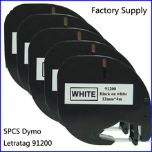 5PCS 91200 Compatible 12mm Dymo Letratag Printer Label Tape Black on White Printer Ribbon 91200(Factory Supply)