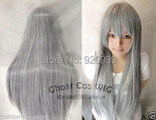 FREE SHIPPING *****NNew long gray straight heat-resistant Cosplay women Lady's hair Wig/Wigs