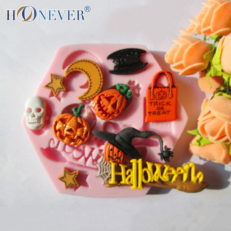 Halloween Witch Pumpkin Silicone Mold Bat Skull Mold Fondant Cake Mold DIY Chocolate Mold(China (Mainland))
