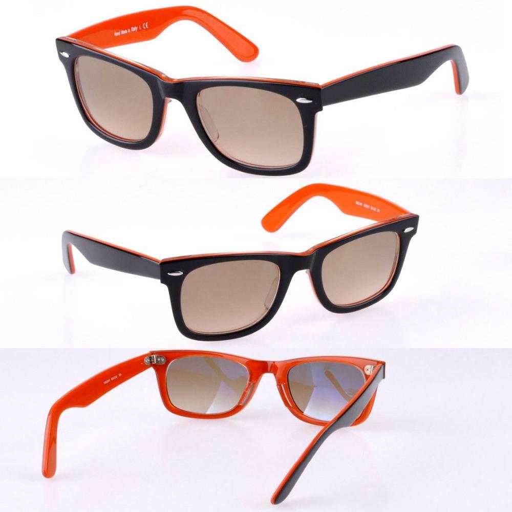 High Quality Brand Acetate Sunglass Men's/Women's 1002/51 Fashion Black On Orange Sunglass Brown Gradient Lens 50mm