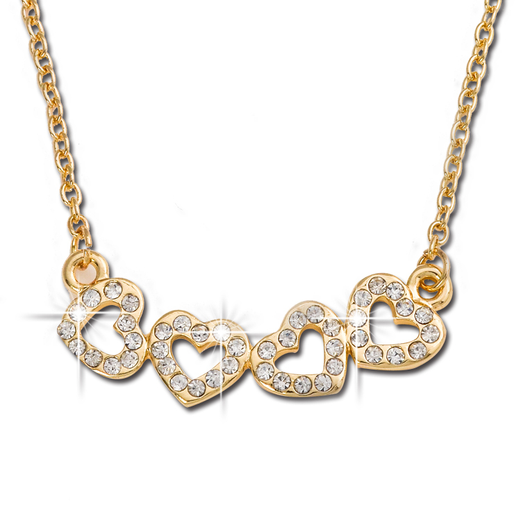 Fashion Jewelry Top Quality Gold Plated Alloy Rhinestone Hollow out love for Heart Pendant Necklace For Women T1327(China (Mainland))