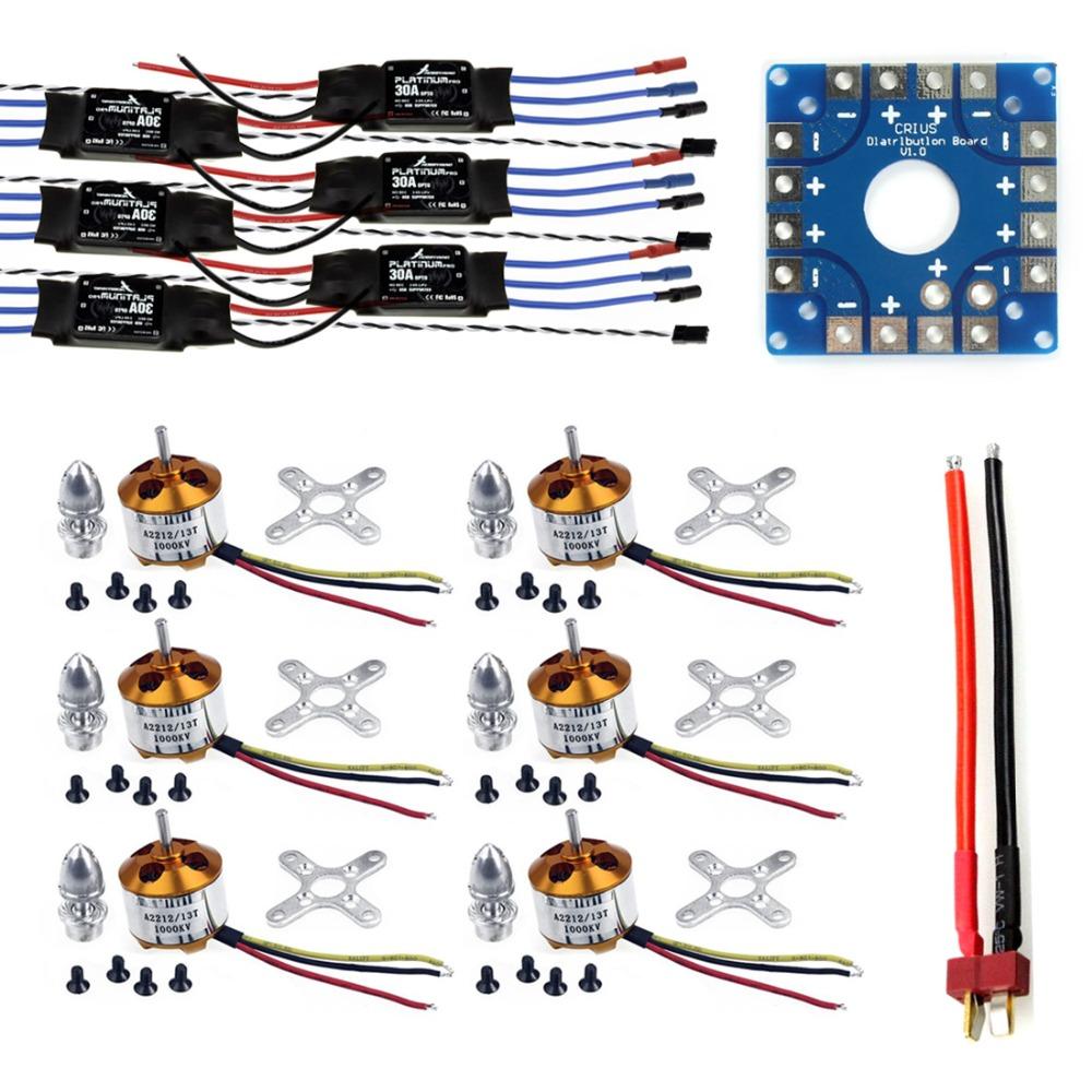 JMT Assembled Kit: 30A ESC + Motor + KK ESC Connection Board Connectors Dean T Plug Wire for 6-Aix Drone Hexacopter