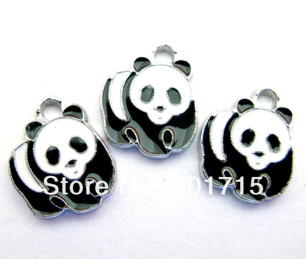 Panda 50pcs/lot Hang Pendant Charm DIY charms Panda Enamel size stuff: Zinc alloy fit necklace cell phone charms(China (Mainland))