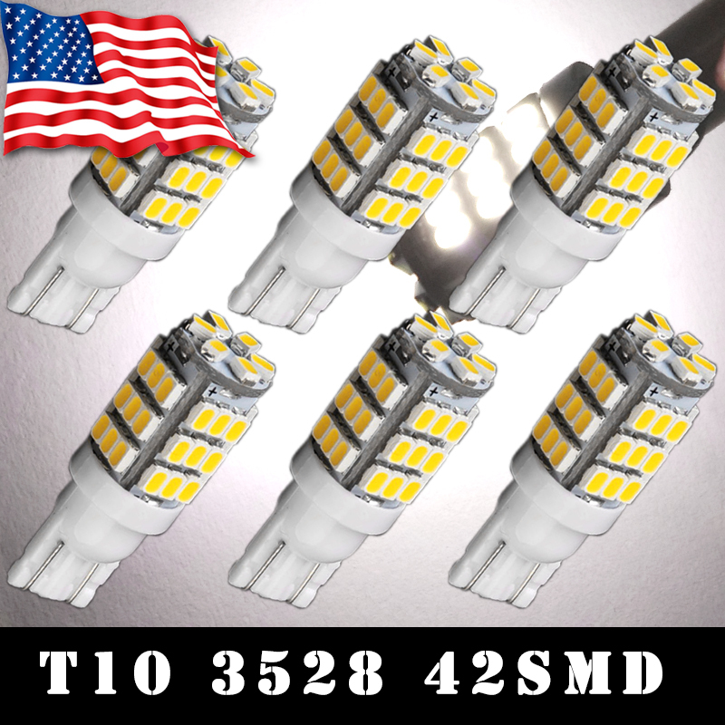 Hot Selling led Car 6pcs12V t10 w5w 5050 42smd Car led Lights Natural White Wedge RV Traier Interior Lamp194 Car Light Source(China (Mainland))