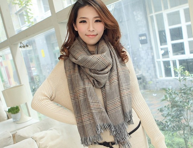 Корейских женщин зимой имитация кашемир кисточки пледом расширились утолщенный хаундстут шарф женский