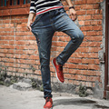 Brand new male personality casual jeans fashion pattern embroidered ripped slim fit elastic straight denim pants