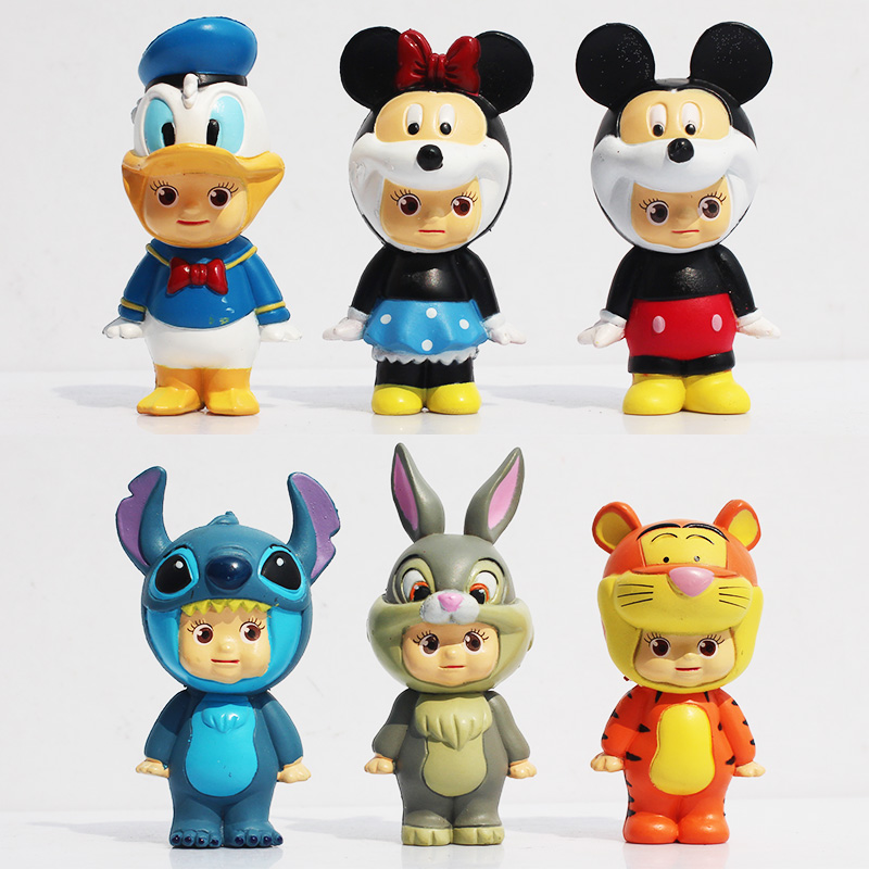 Hot 6Pcs/set Cartoon Mickey Figures Minnie Donald Duck PVC Action Figure Toys Dolls Great Gifts Retail 8cm Approx(China (Mainland))