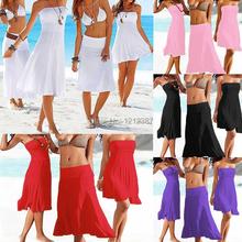 5 Colors Sexy Summer Beach Strapless Bikini Swimwear Cover Up Dress For Women HB88(China (Mainland))