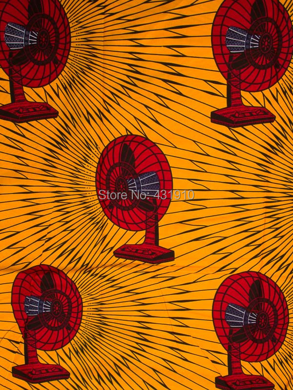 Wholesale African Fabrics Real Wax Prints 100% Cotton Yellow Fabric Material Red Fans 6 Yards For Sewing/Quilt rw2324306_1(China (Mainland))