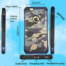 2 in 1 Army Camo Camouflage Pattern back cover Hard Plastic and Soft TPU Armor protective phone cases for iPhone 6 6S4.7