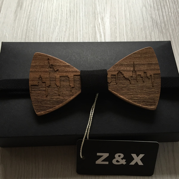 HOT SALE Formal Commercial Wooden Bow Tie Male Solid Color Marriage Bow Ties For Men Butterfly