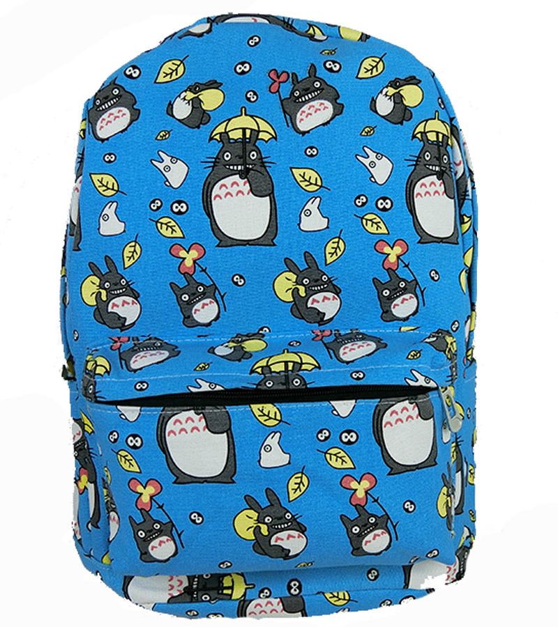 Lovely Totoro Printing Canvas Backpack Korean Styles of School Bags Free Shipping -B(China (Mainland))