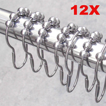 Free shipping 12pcs/pack Set Package Polished Satin Nickel 5 Roller Ball Shower Curtain Rings Hooks PTSP(China (Mainland))