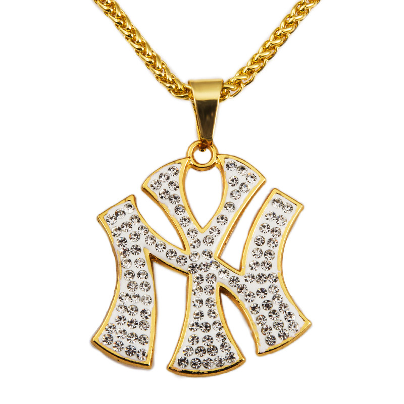 Hip Hop Punk Fashion Chain NY Letter Pendant Necklace Long Chain 29.5in 18K Gold Plated Necklace Hip Hop Styles For Unisex(China (Mainland))