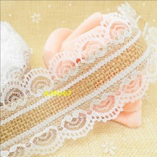 Natural Jute Burlap Hessian Ribbon + white lace trim Vintage Wedding decoration