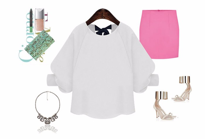 Women Tops and Blouses 2016 Loose Autumn Women Blouses O-Neck Lace up Bow Three Quarter Sleeve lantern Sleeve Chiffon Blouse