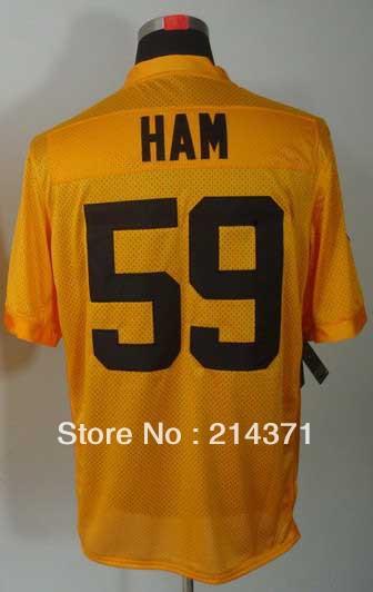 Wholesale Fashion 59 Jack Ham Men's Authentic 1933s Yellow Elite Football Jersey Size: 40-56 Free Shipping 2013(China (Mainland))