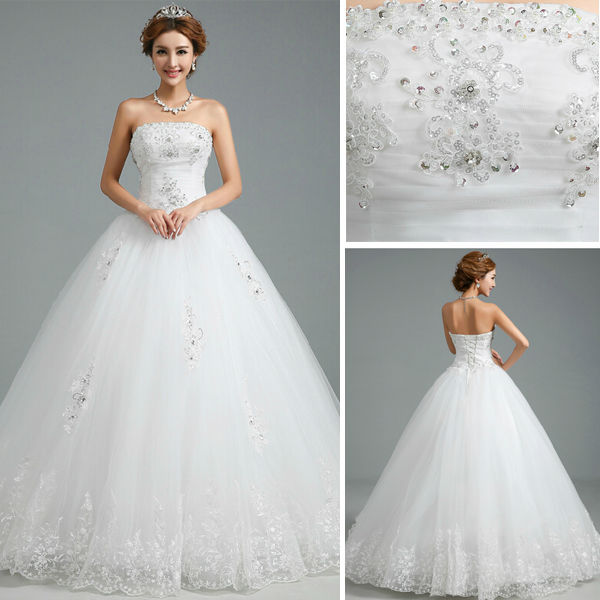2015 New Arriving Strapless Slim Fitting Princess Wedding