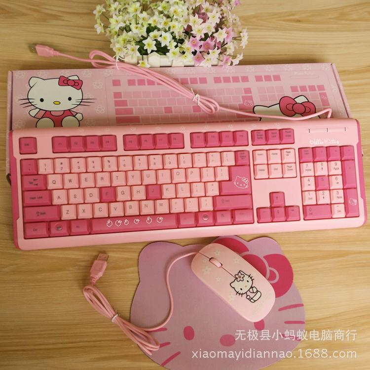 2016 New cute hellokitty computer keyboard + mouse+ mouse pad multimedia usb wired keyboard pink keyboard(China (Mainland))