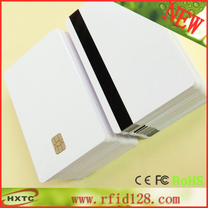 10pcs/lot ISO7816 2 in 1 SLE4442& Hi-Co Track 1 Track 2 8.4mm Small Hi-co Magnetic Stripe Smart PVC Card Free shipping(China (Mainland))