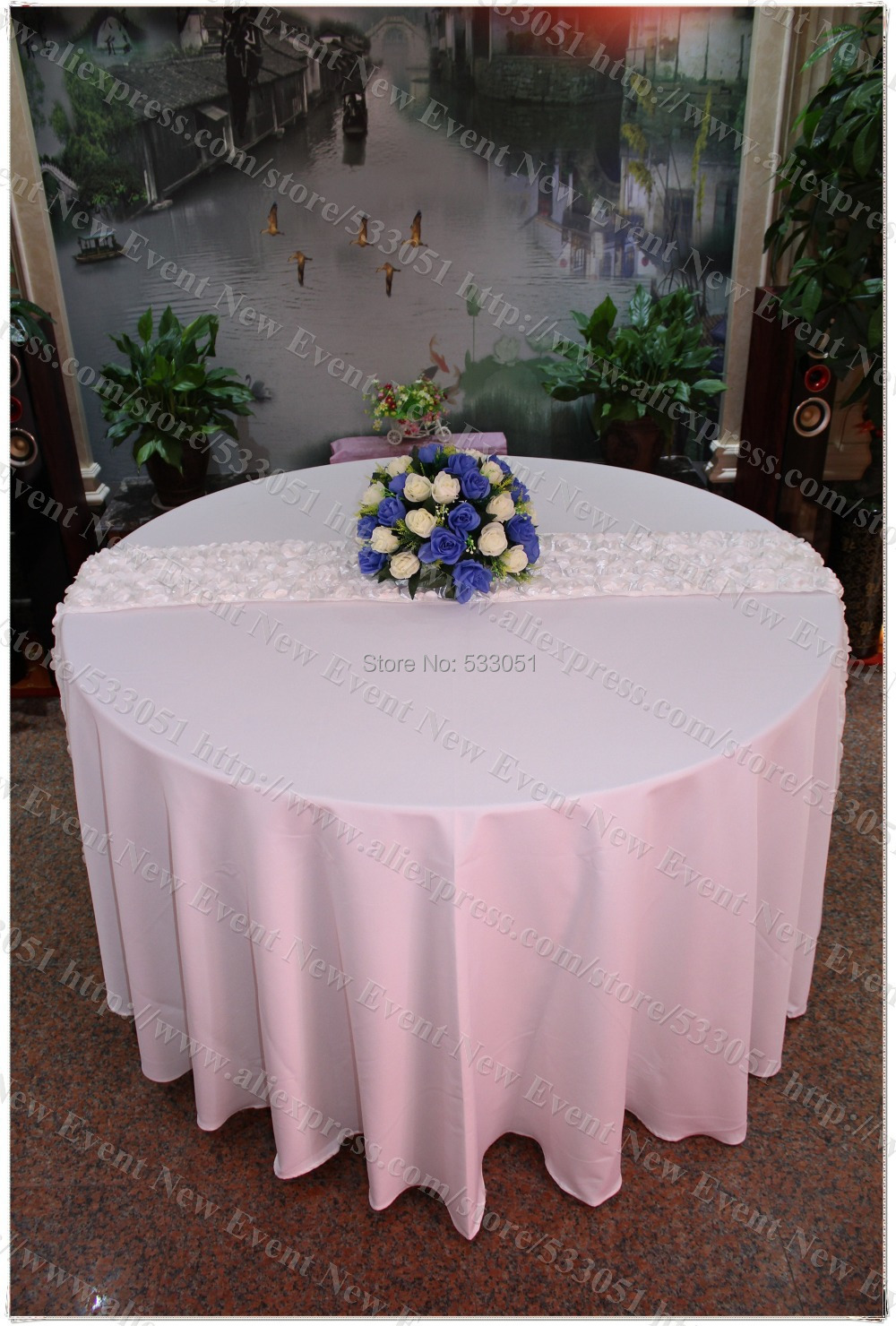 120 round white color 210g m2 polyester plain tablecloth for 120 round white table linens