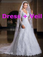 2015 Vestido de noiva sexy Long Sleeve Lace Wedding Dresses Wedding Custom-Made Bridal Gown Vestido de novia with veil(China (Mainland))