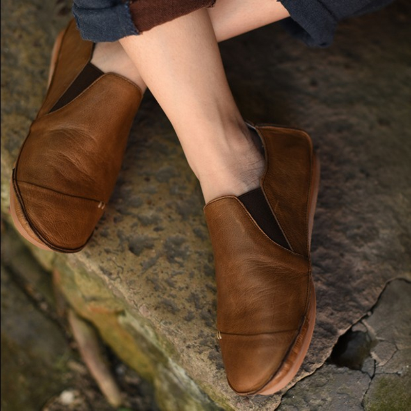 Vintage handmade genuine leather women's shoes fluid vintage shoes first layer of cowhide comfortable shoes lazy flats