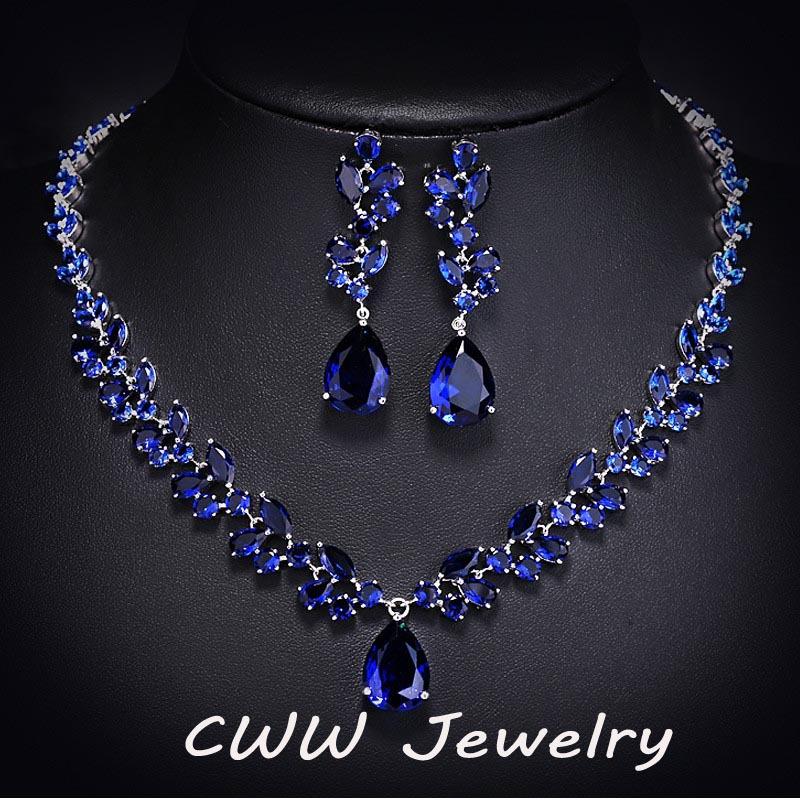 Luxury CZ Diamond Women Wedding Jewelry Royal Blue ...