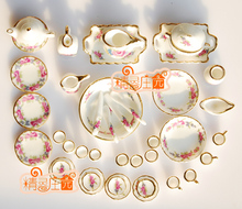 G05-X473 children baby gift Toy 1:12 Dollhouse mini Furniture Miniature rement Ceramic elegance rose Tableware 40pcs/set(China (Mainland))
