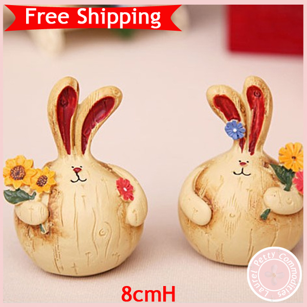 hot sale rabbit animal craft home decoration wooden polyresin material craft Easter gift free shipping(China (Mainland))