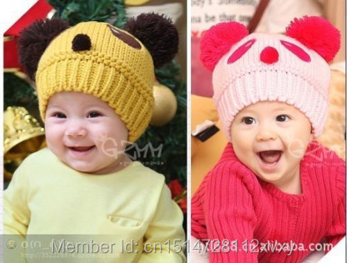 Winter Warm Baby Panda Beanie Cap Toddler Kid Cute Hat Wool Knitted Crochet Z1H(China (Mainland))