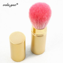 Professional Retractable Makeup Brush Mineral Powder Brush Foundation Blush Brush Golden Aluminum Handle With Pink Goat