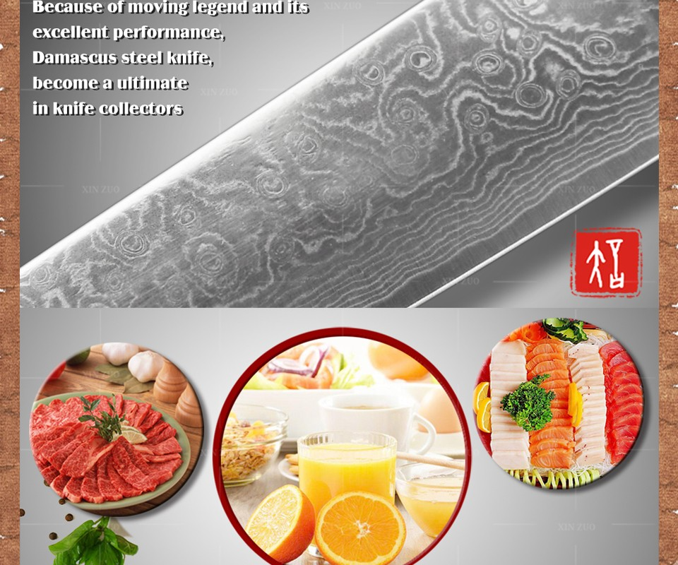 "Buy 8"" inch chef knife 73 layers Damascus kitchen knife  Color wood handle high quality sharp japanese VG10 chef knife free shipping cheap"