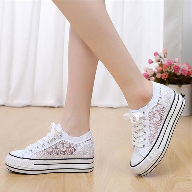 Большой размер 35 ~ 40 2015 корейский шнурок женской обуви выдолбите вне сплошной ...