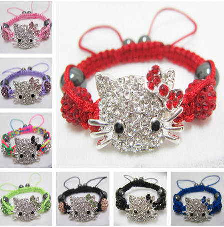 Fashion Candy Color Handmade Cheap Hello Kitty Bracelets Shamballa Bracelet For Kids Children Jewelry Wholesale 12pcs/lot