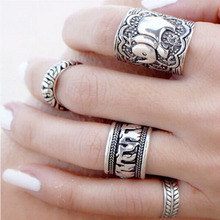 Free Shipping 4PCS/Set Carved Antique Silver Elephant Above Knuckle Midi Finger Ring Set