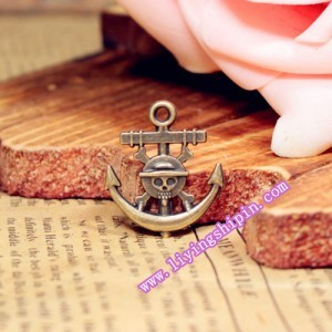 22*19MM alloy Charm Pendants Skeleton Pirate Anchor Antique Bronze pendant jewelry Making accessories diy material(China (Mainland))