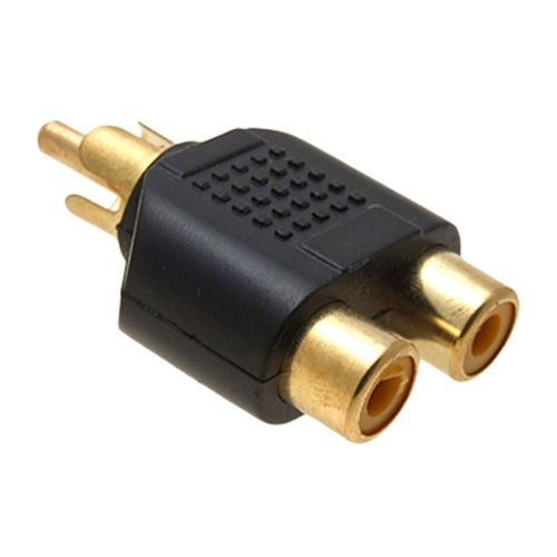 100pcs/lot Gold Plated RCA Plug Audio Y Splitter adapter jack 1 Male to 2 Female connector For Audio Video AV TV Cable Convert(China (Mainland))