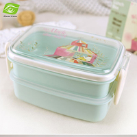 824ML Korean 2 Layers Student School Bento Lunch Box Microwave Safe Container For Food Plastic Lunchbox