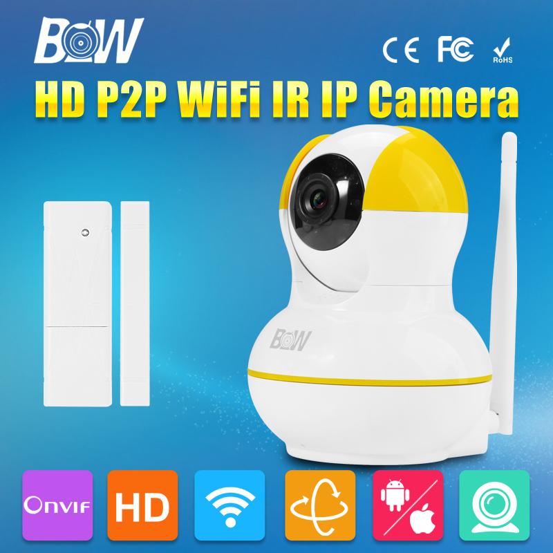 BW Mini IP Camera + Door Sensor P2P 720P HD IR-Cut Night Vision 3.6mm Endoscope GSM Burglar Automatic Alarm Security CCTV P/T(China (Mainland))