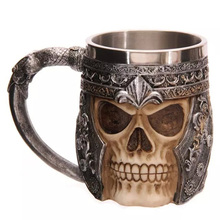 Personalized Coffee Mugs Double Wall 3D Skull Mugs Coffee Cup Skull Knight Tankard Dragon Drinking Cup for Halloween caneca(China (Mainland))