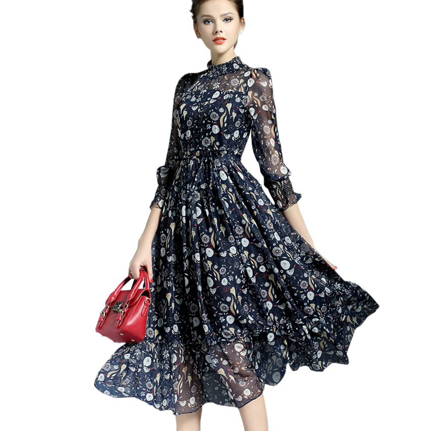 2016 New Women Runway Dress Summer Style Elegant Ladies Vintage Floral Print Maxi Dress Long