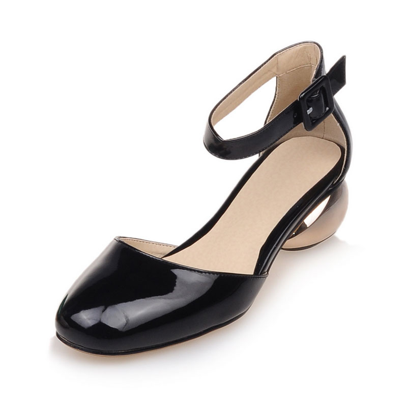 2016 Newest Elegant Women Summer Ankle Strap Buckle Sandals Summer square Toe low- heels Women Shoes Big Size 32-48 P848(China (Mainland))