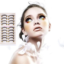 10 Pairs Upturned Thick False Fake Eye Lashes Long Soft Makeup False Eyelash Set LI02