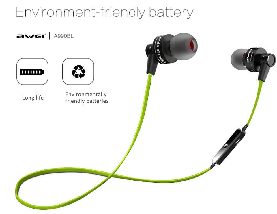 2016 New Original AWEI A990BL Universal Wireless Bluetooth 4.0 Sport Earphone In Ear Earphones For Sony Z2 Z3 Sumsang S6