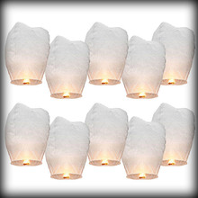 by dhl or ems 10000pcs White Sky Wishing Lantern Chinese paper Lantern Fly lights(China (Mainland))