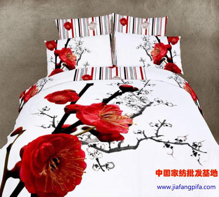 Acheter 3d rouge floral literie douillette - Housse de couette chinoise ...