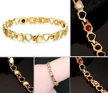 Free shipping! 4in 1 Bio Full Gold Color Health Heart Magnetic  Balance energy Power  Bracelet bangle for women(China (Mainland))